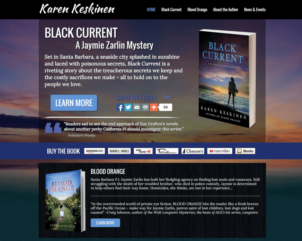 Author Website Design for Karen Keskinen