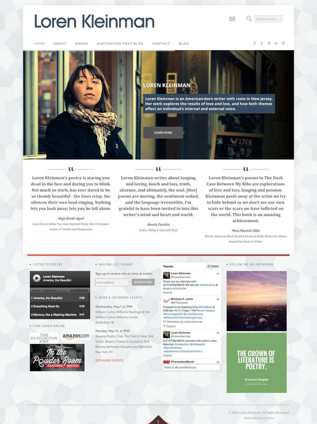 Author Website Design for Loren Kleinman