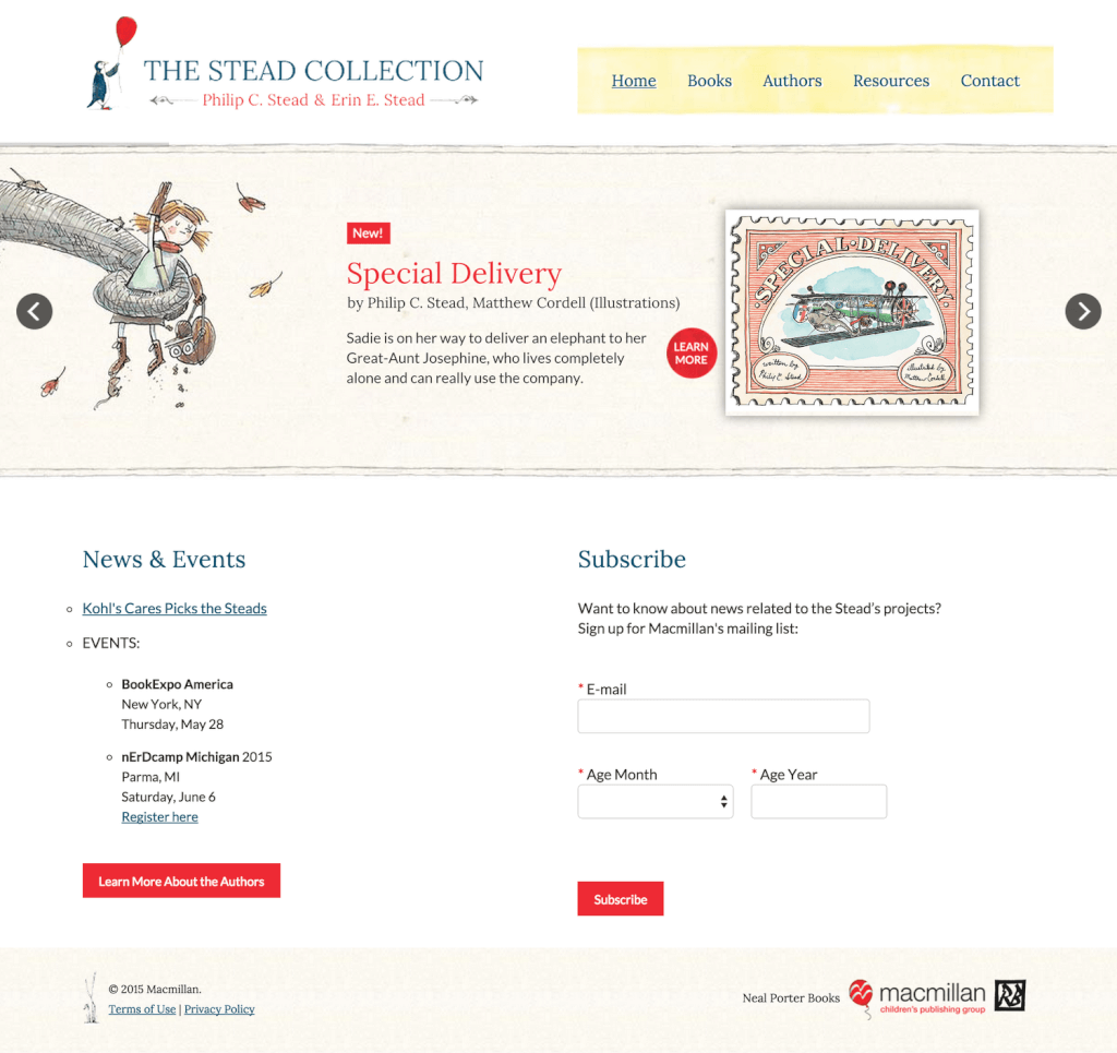 Author Website Design for Erin & Phil Stead