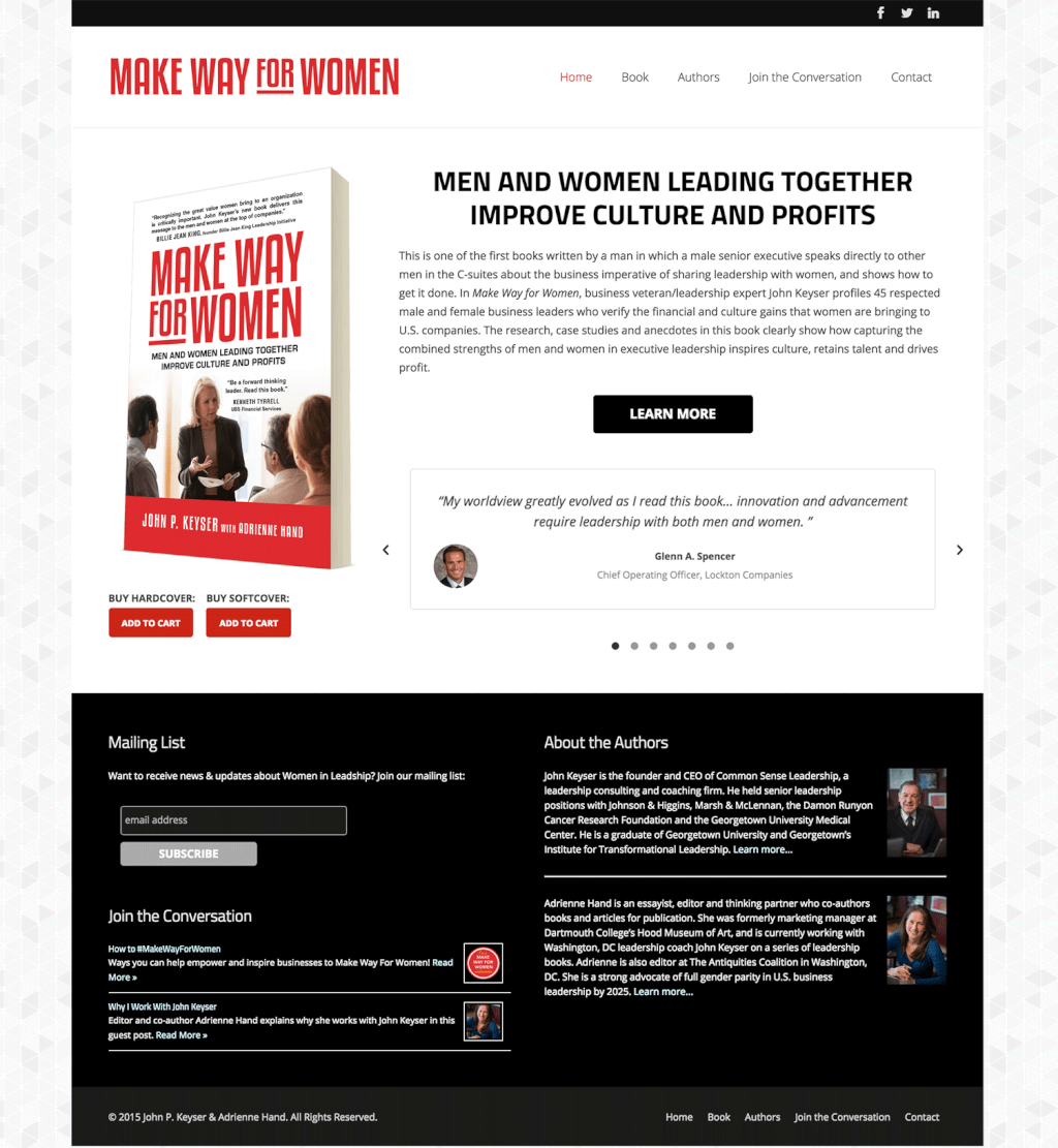 Book Web Design for Make Way For Women in Leadership