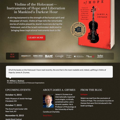 Book Website Design for Violins of Hope