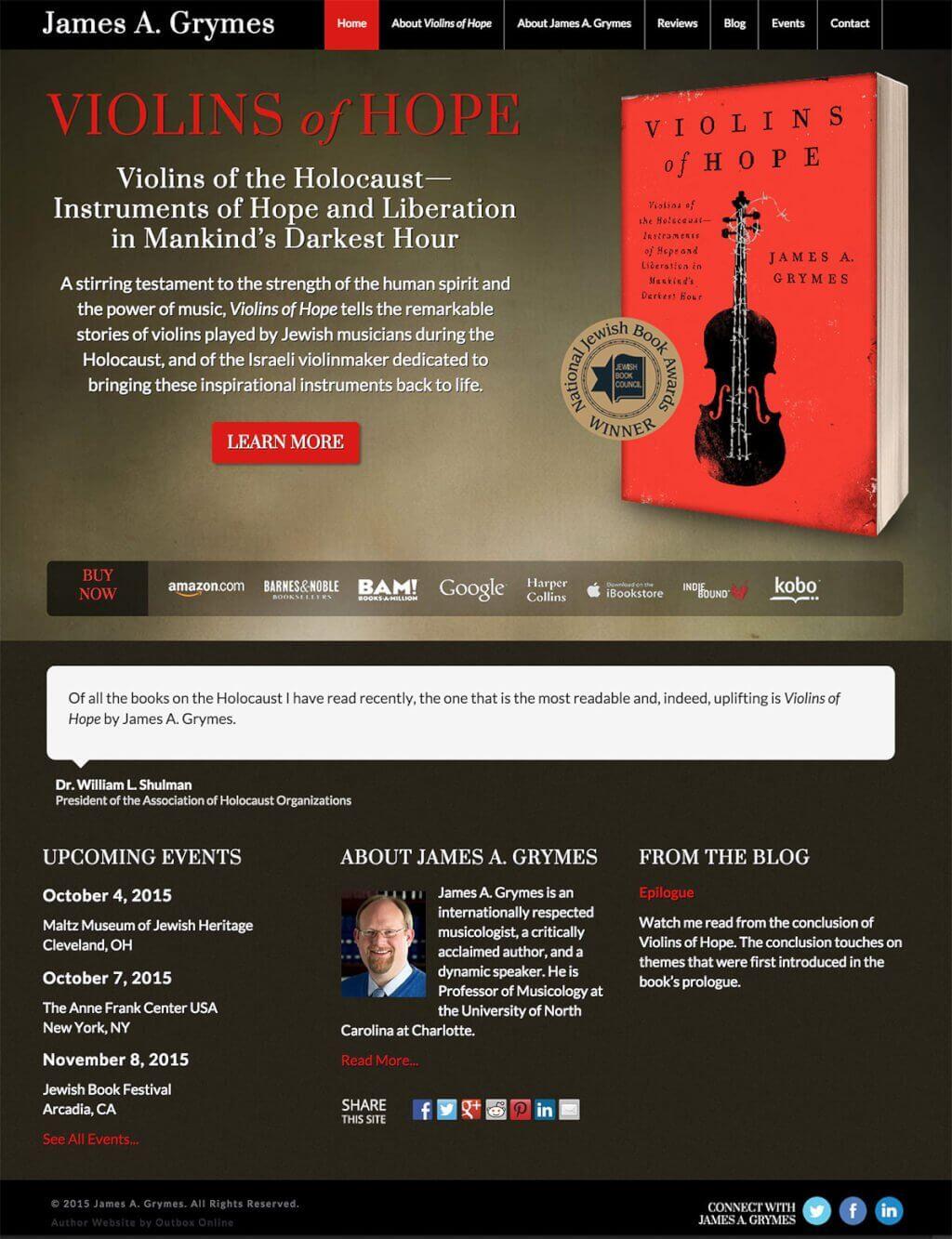 Book Website Design for Violins of Hope
