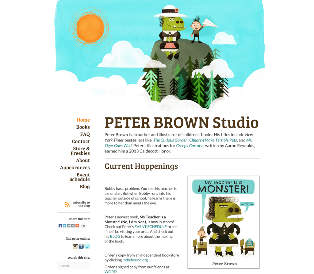 Childrens Author Website Design for Peter Brown