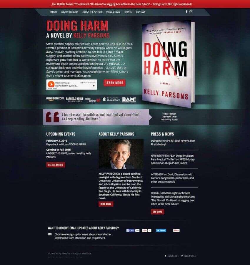 Kelly Parsons Author Website Design