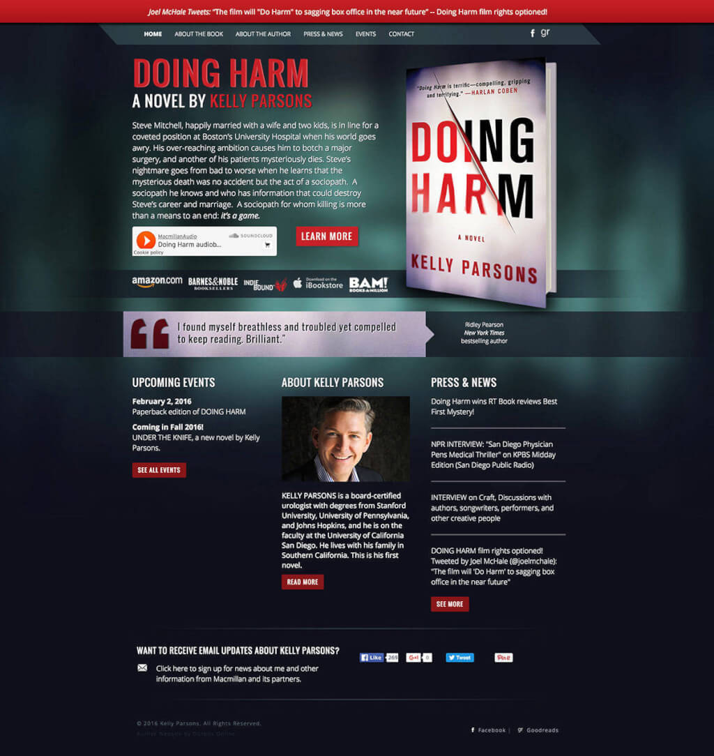 Kelly Parsons Author Website Design