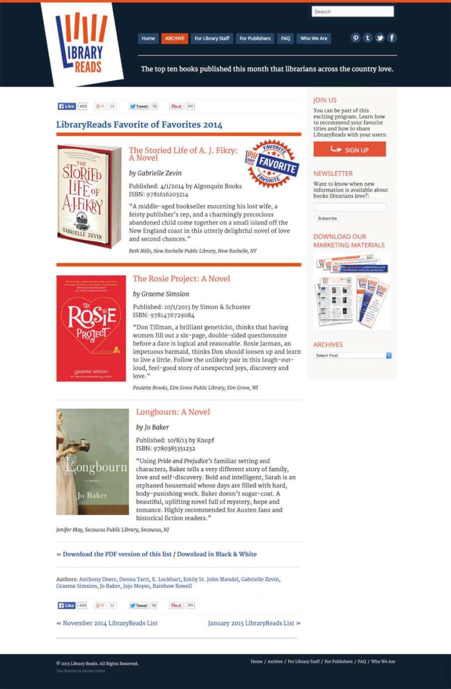 Library Website Design for LibraryReads