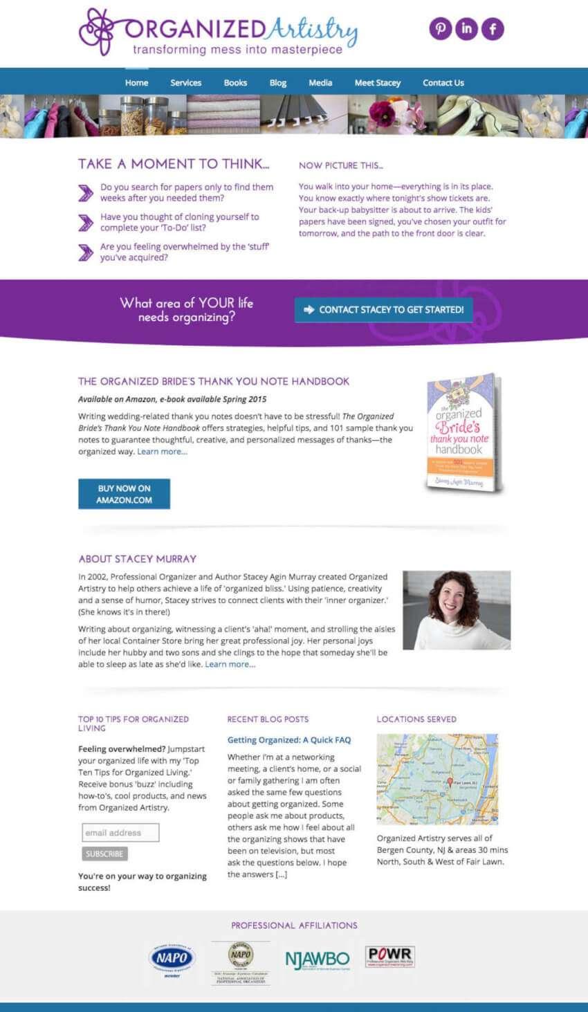 Organized Artistry Website Design