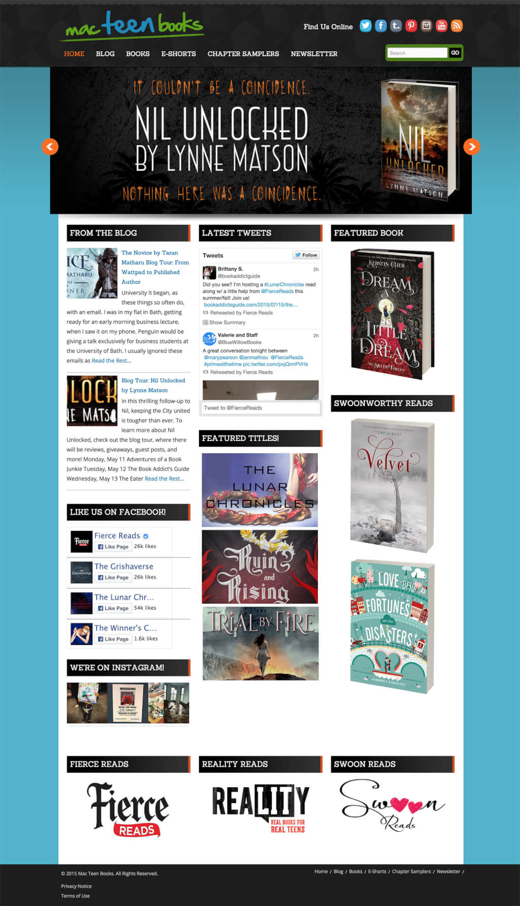 Publisher Website Design for Mac Teen Books