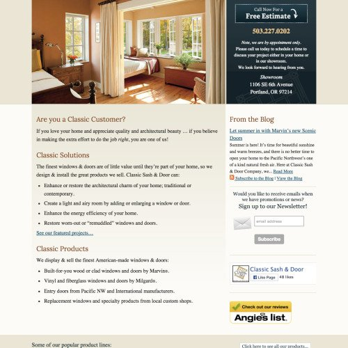 Small Business Website Design for Classic Sash & Door in Portland