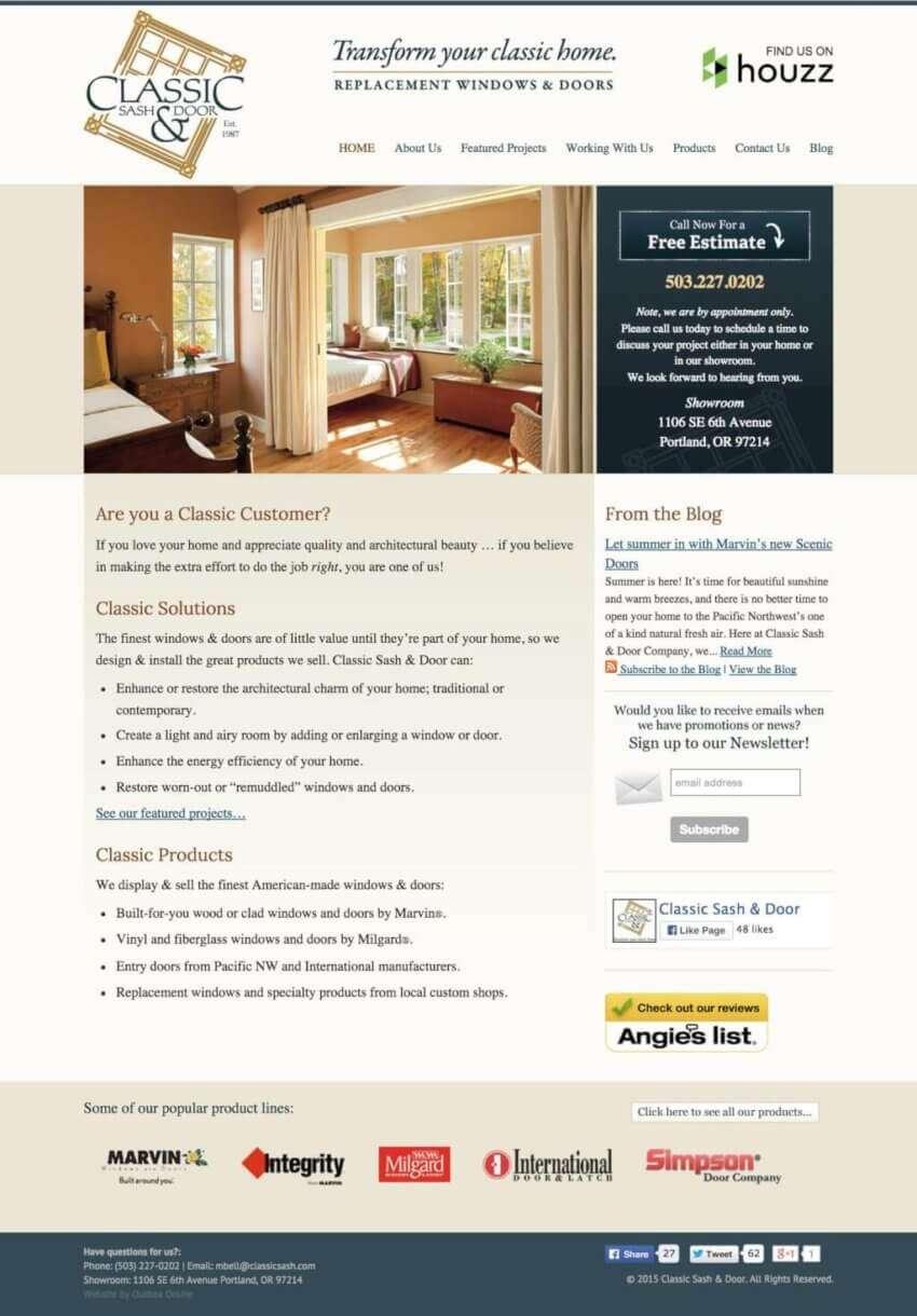 Small Business Website Design for Classic Sash & Door in Portland