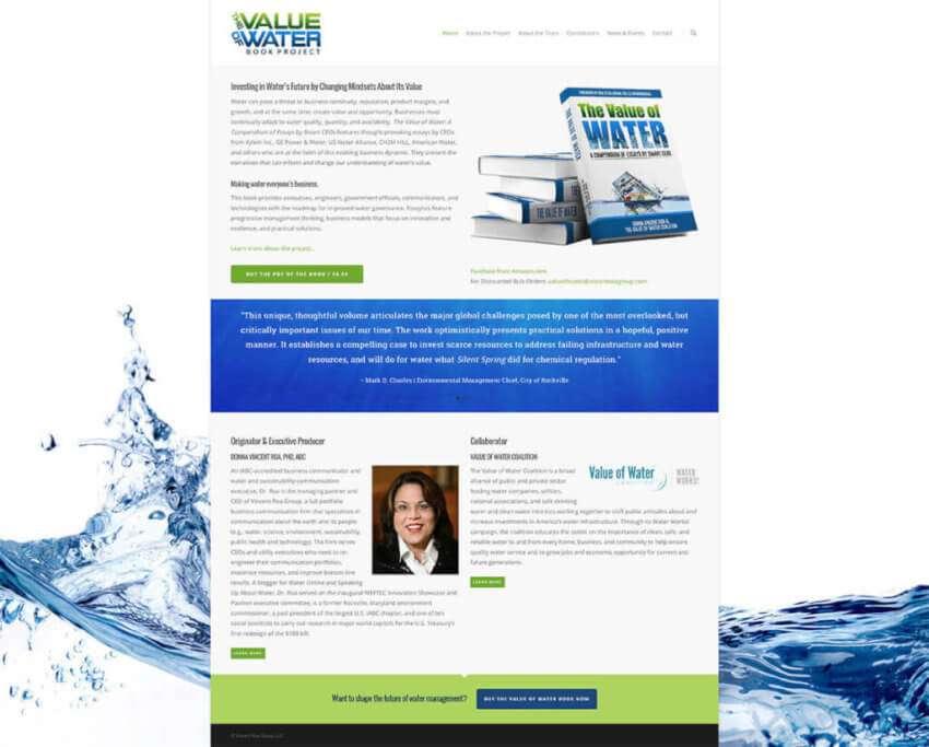 Value of Water Book Website Design