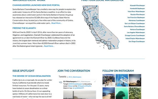 Nonprofit Webside Design for California Coastkeeper Alliance