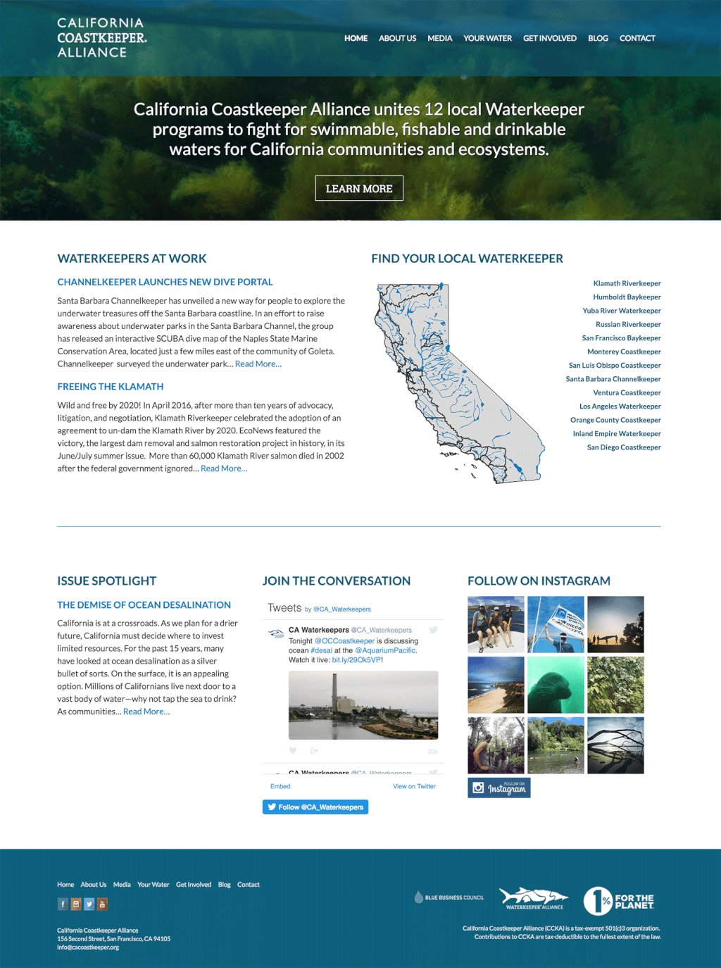 Nonprofit Webside Design for California Coastkeeper Alliance