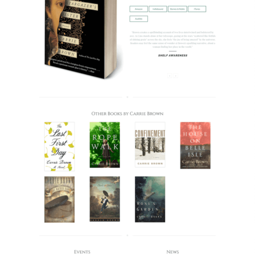 Author Website Design for Carrie Brown