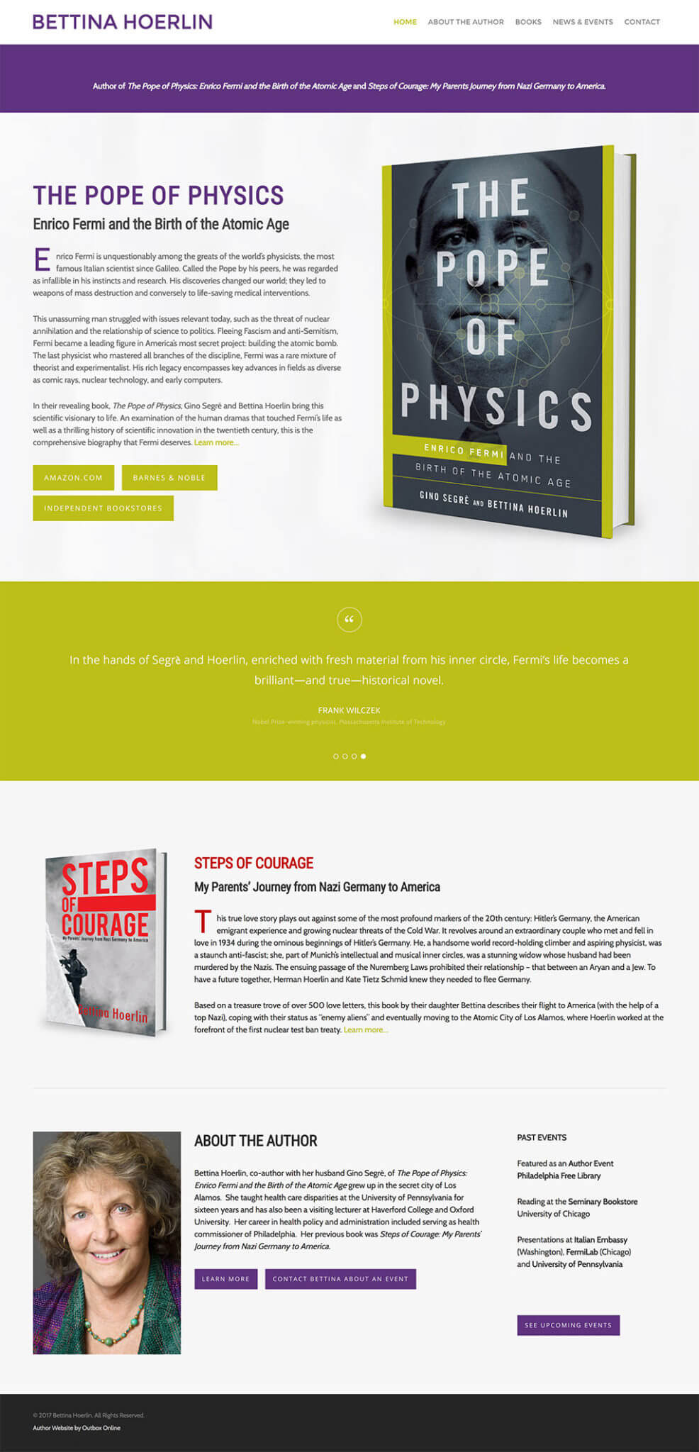 Author Website Design for Bettina Hoerlin
