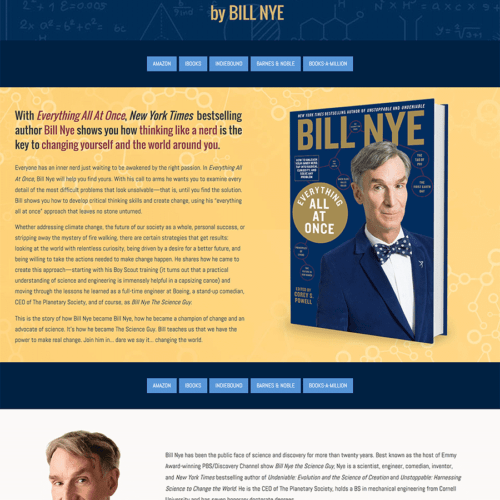 Book Landing Page for Bill Nye