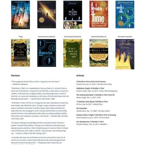 Madeleine L'Engle Author Website Design