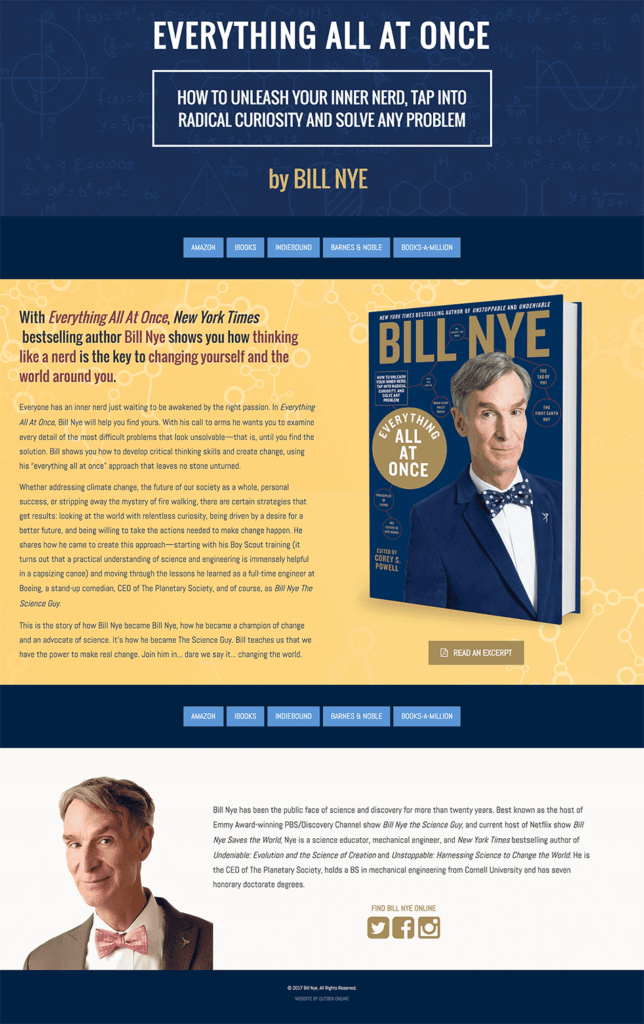 Book Website Design for Bill Nye
