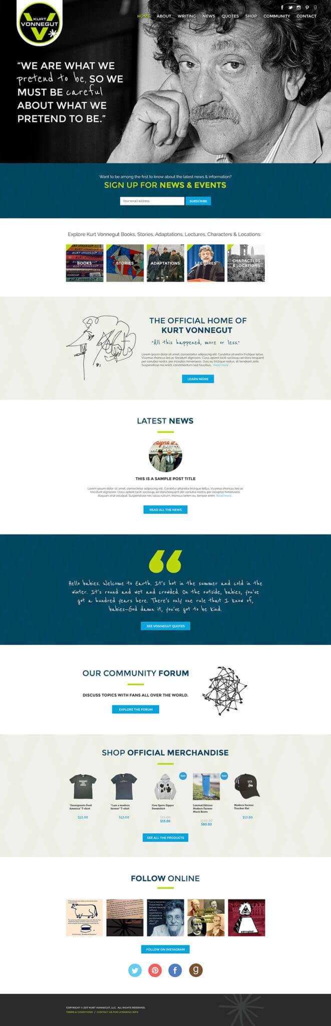 Kurt Vonnegut Author Website Design