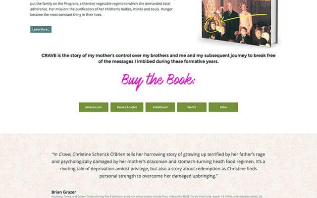 Author Website Design for Christine O'Brien - Crave