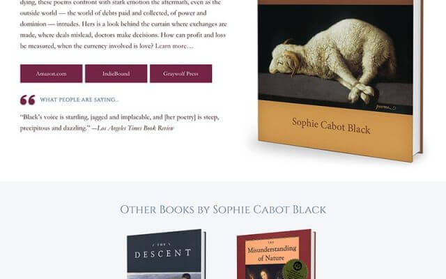 Sophie Cabot-Black, Poet Website Design