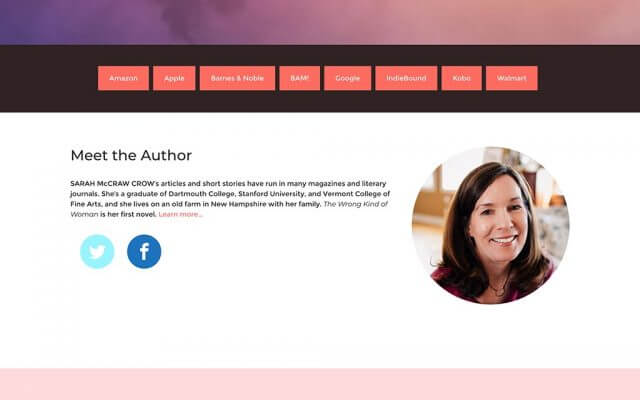 Sarah McCraw Crow Author Website Design