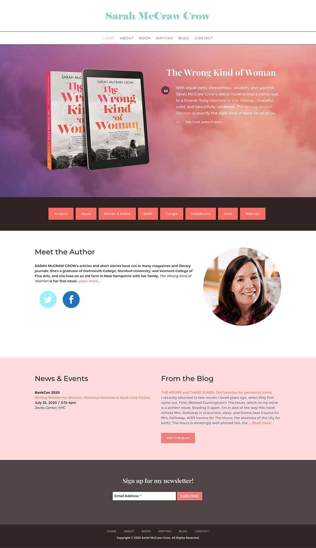 Sarah McCraw Crow Author Website Design