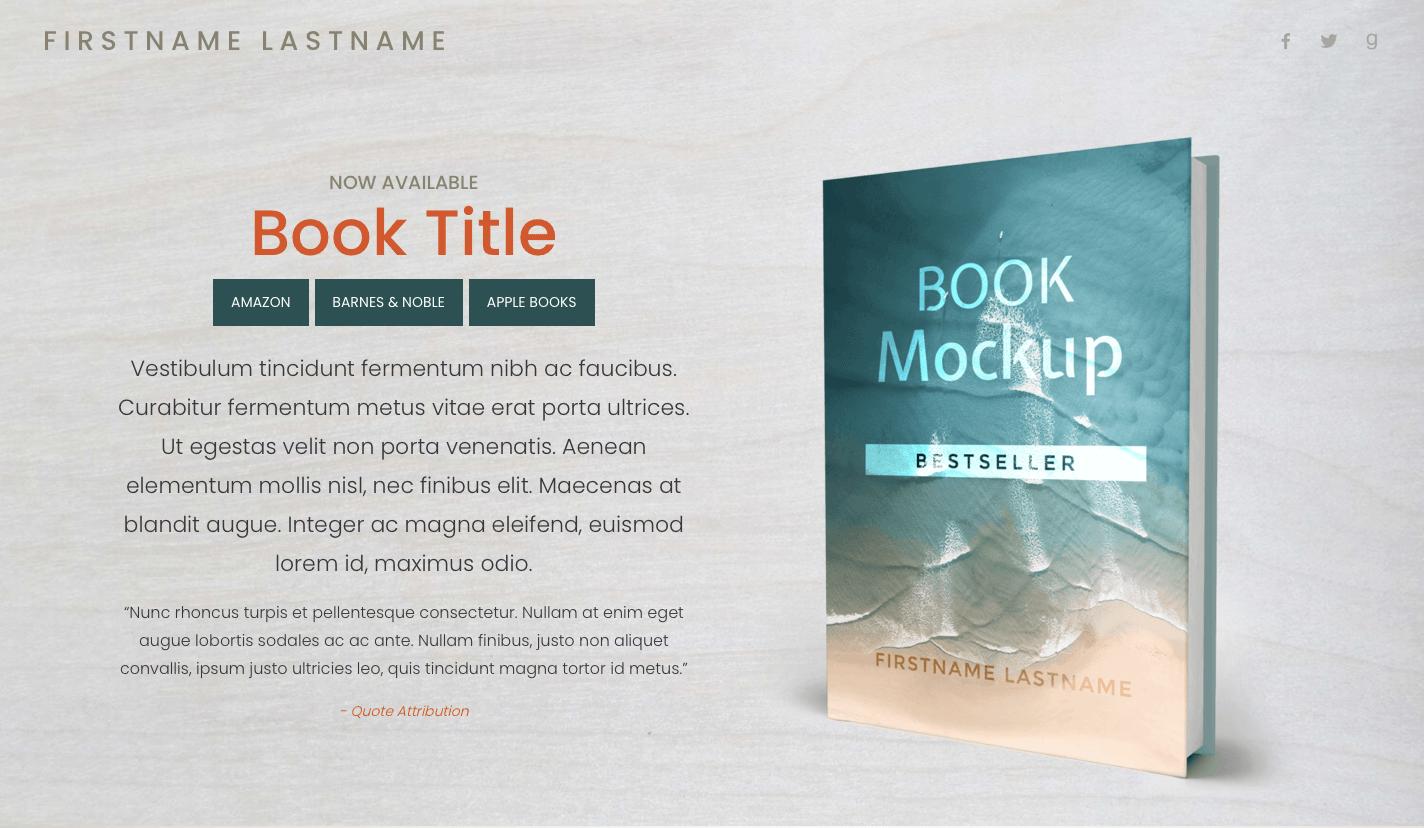 Book Landing Page Design