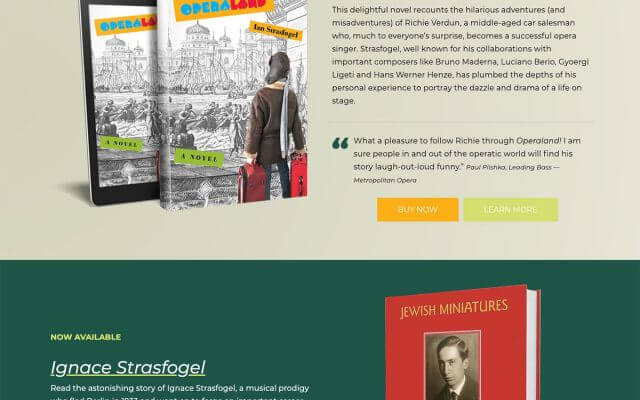 Ian Strasfogel Author and Opera Director website design
