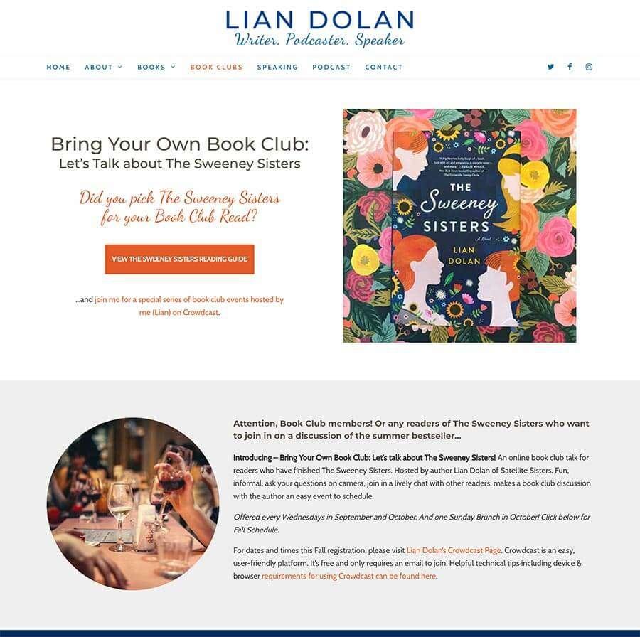 Author Website Design - Book Club Page