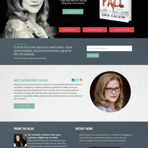 Author Website Design for Kris Calvin