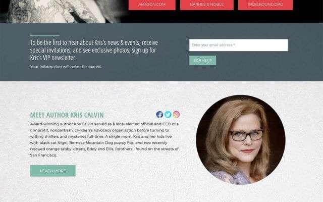 Author Website Design for Kris Calvin